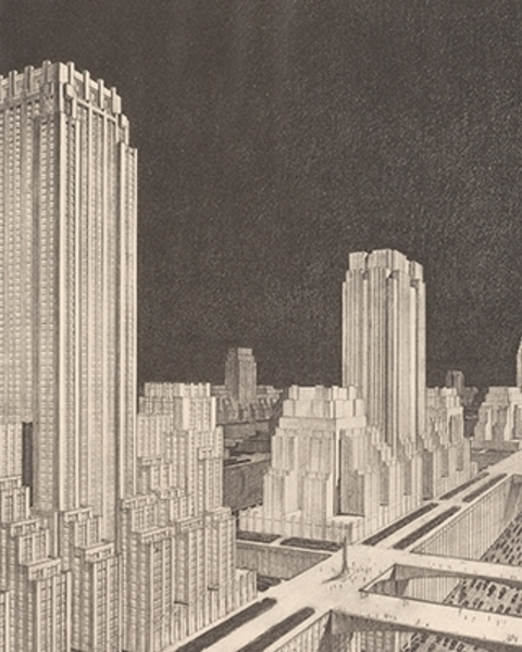 The City of the Future: Hundred Story City in Neo-American Style, Francisco Mujica, 1929. From Francisco Mujica, History of the Skyscraper (Paris, 1929), pl. 134. 88-B34645