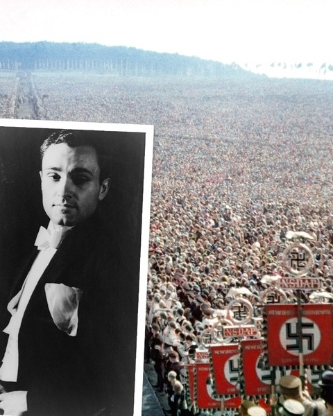 A Nazi rally in Bückeberg, Germany, 1937. Inset, Philip Johnson, 1933.