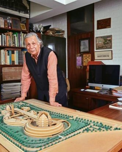 Raj Rewal in his office.