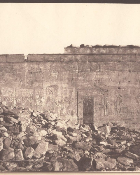 Félix TEYNARD (French, 1817-1892) Southern Wall of the Exterior of the Sanctuary. Dendur, 1851-1852 Salt print from a waxed paper negative, 26.1 x 31.4 cm