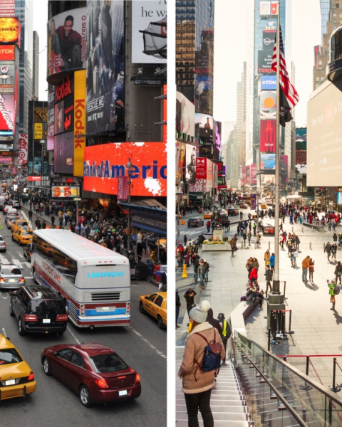 Times Square before and after Snøhetta's renovation, 2009 and 2017
