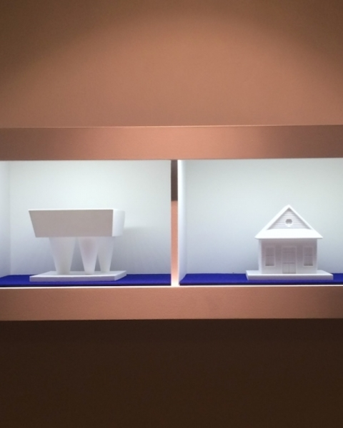 Installation view of 3D-printed models in 'Un/Fair Use' at the Center for Architecture