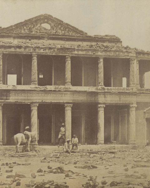 Figure 6. Felice Beato, The Inside of Secundra Bagh after the Slaughter of 2,000 Rebels by the 93rd Highlanders and the Punjab Regt. First Attack of Sir Colin Campbell in November 1857, albumen print from collodion-on-glass negative, March–April 1858.