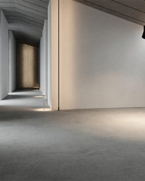 Another YEEZY Home interior! A great choice for people who like the homey feel of poured concrete everything.