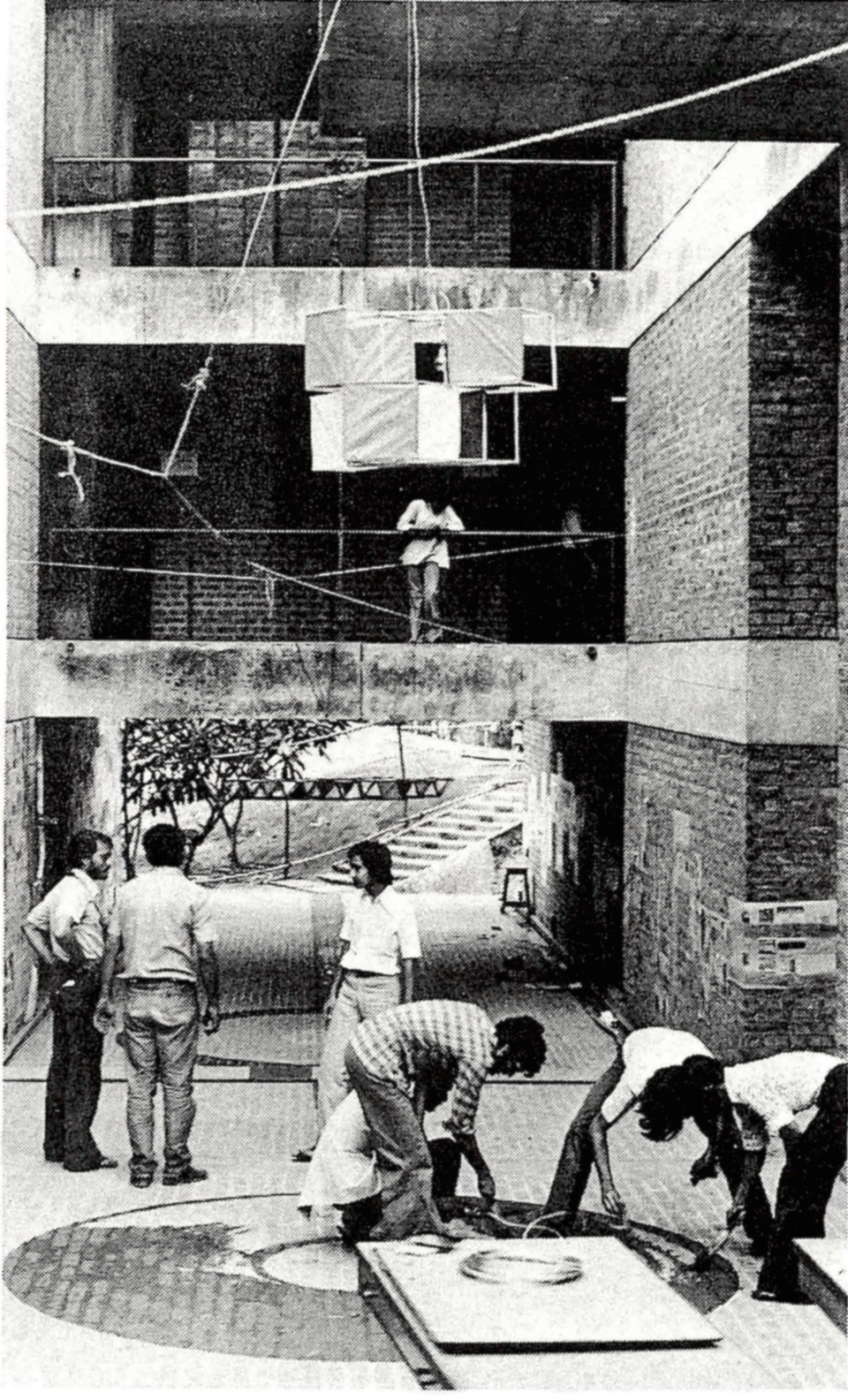 """Students developing school environment."",  CEPT, 1980. Photograph by B.V. Doshi"