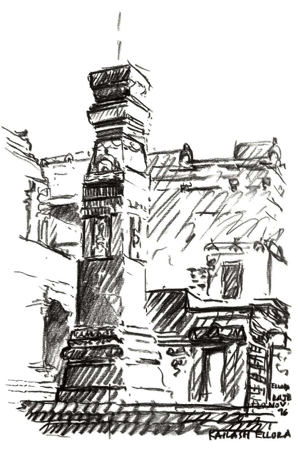 """Kailash, Ellora"", sketch by Anant Raje, November, 1996"