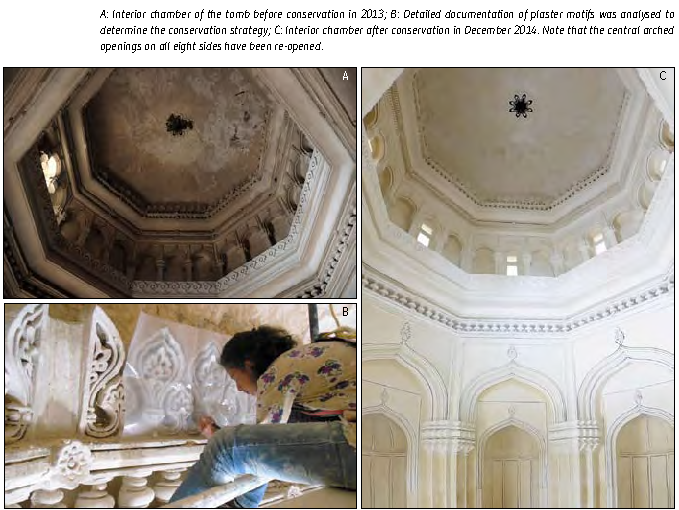 A: Interior chamber of the tomb before conservation in 2013; B: Detailed documentation of plaster motifs was analysed to determine the conservation strategy; C: Interior chamber after conservation in December 2014.