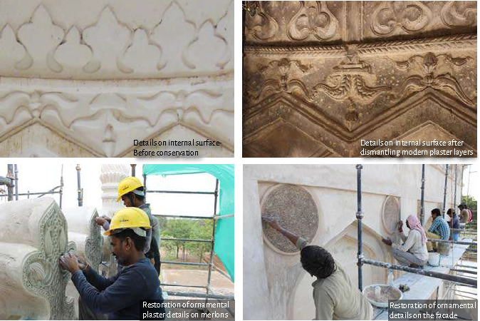 Details on internal surface - before and after conservation (top) and restoration of ornamental details (bottom
