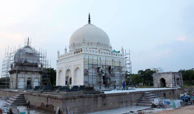 Conservation works on Sultan Quli Qutb Shah's Tomb required replacing cement plaster with traditional lime plaster and conservation works now commencing on Subhan Quli Qutb Shah's tomb will aim to achieve similar results