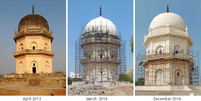 Within two years from the completion of conservation works the patina of organic growth has returned to the dome of Jamshed Quli Qutb Shah's Tomb.