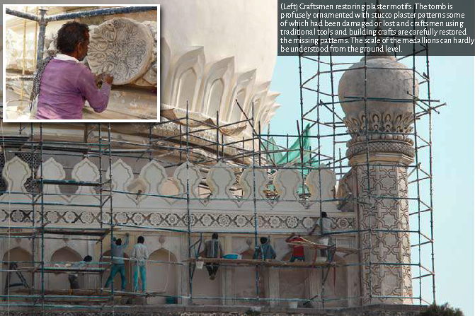 Craftsmen restoring plaster motifs. The tomb is profusely ornamented with stucco plaster patterns some of which had been damaged or lost and craftsmen using traditional tools and building crafts are carefully restored the missing patterns. The scale of th