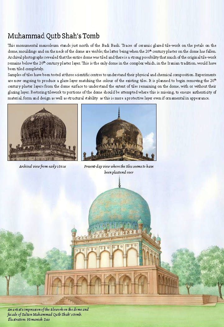 An artist's impression of the tilework on the dome and facade of Sultan Muhammad Qutb Shah' s tomb. (inset) Archival view from early 1860s and Present-day view where the tiles seems to have been plastered over