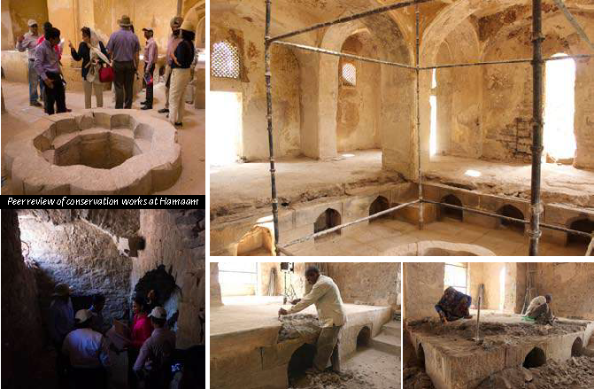 (Left) Peer review of conservation works at Hamaam, (Right, above) Eastern chamber of hamam after dismantling of modern cement and plaster layers; (Right, Bottom) Dismantling of cement from the platform of the eastern chamber