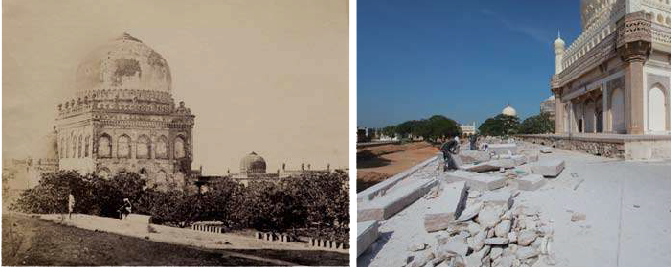 An 1860's view (Left) of Muhammed Quli Qutb Shah's tomb, showed the original stone parapet that was replaced in the 20th century with an iron railing thus disfiguring historic architectural character and authenticity; (Right)