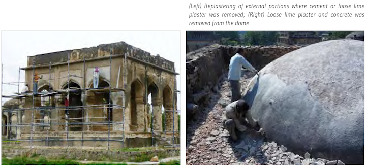 Replastering of external portions where cement or loose lime plaster was removed; (Right) Loose lime plaster and concrete was removed from the dome