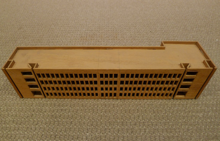 Call No: 366.III.B.2, IIM-A - First of two Model Fragments showing 4 Story Office (Wood, 3 ¼ x 14 x 3 ¼ inches)