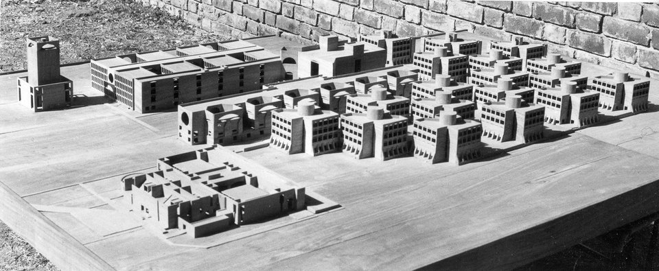 Model, Indian Institute of Management with Students' Dining Halls and Kitchens on bottom-left