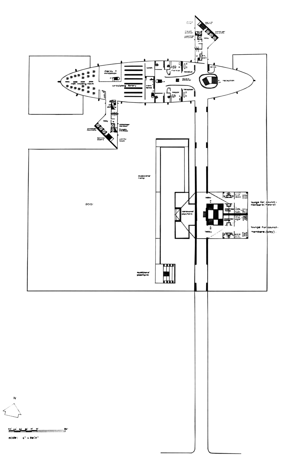 First (main) floor plan - Council Chamber lobby, Mayor's office, a circulating library and reception  areas