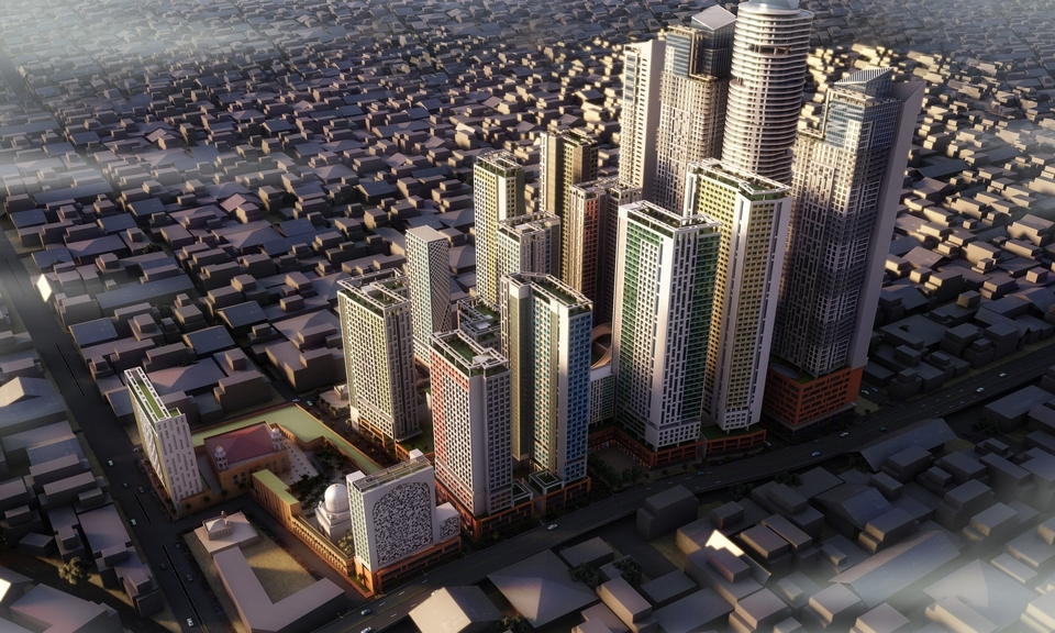 Render of future developments in Bhendi Bazaar in south Mumbai.