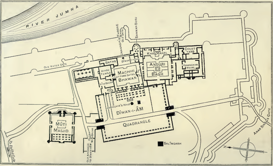 Agra Fort, Plan of the Palaces
