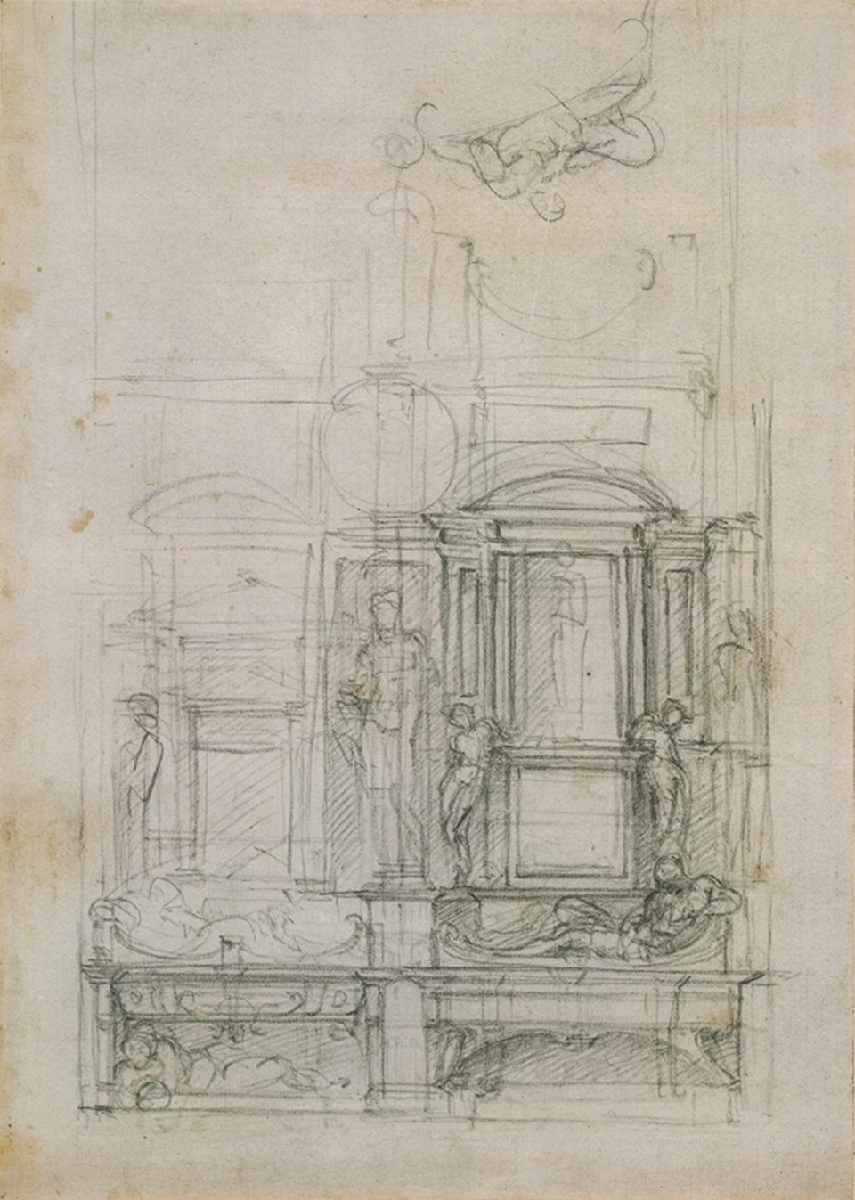 Michelangelo Buonarroti (Italian, 1475–1564). Sketches for the Design for a Double Tomb in the New Sacristy of San Lorenzo. Black chalk.