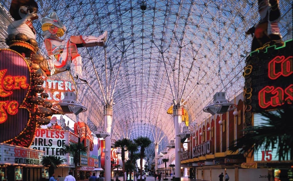 Fremont Street Experience in downtown Las Vegas, a 140-meter long covered pedestrian mall that boasts 2.1 million lights on its ceiling.