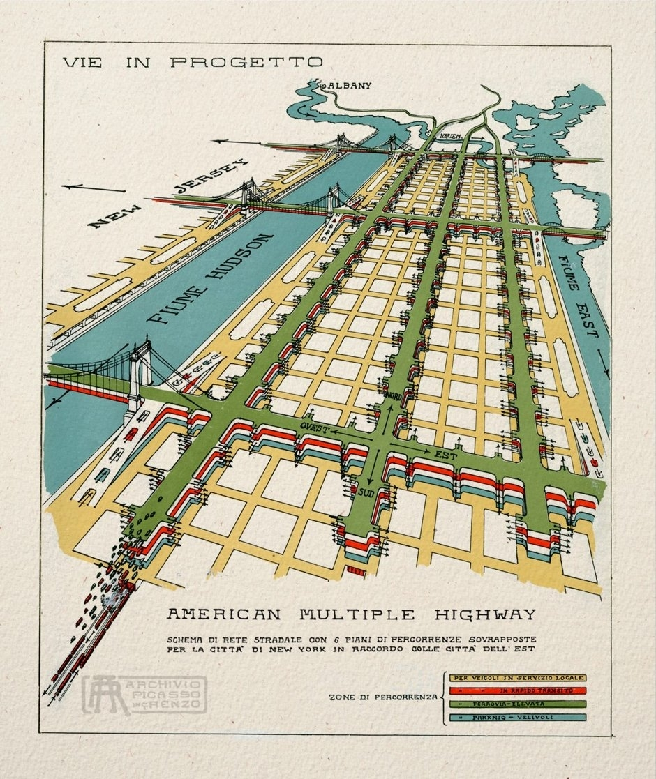 "One image from 1929, titled ""American Multiple Highway,"" shows a stacked roadway system that runs along the length of Manhattan, and beyond"