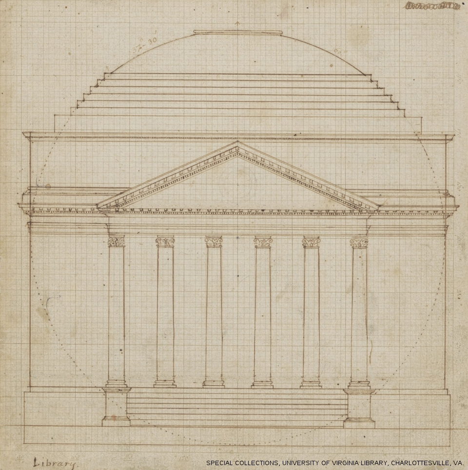 Jefferson's sketch for the Rotunda of the University of Virginia. The design is based on Palladio's Villa La Rotonda, just outside Vicenza, Italy.