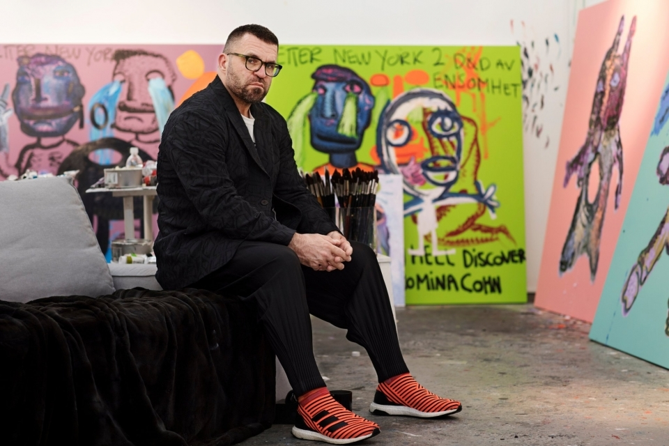 Bjarne Melgaard in his studio. The artist is sometimes referred to as the enfant terrible of Norwegian art