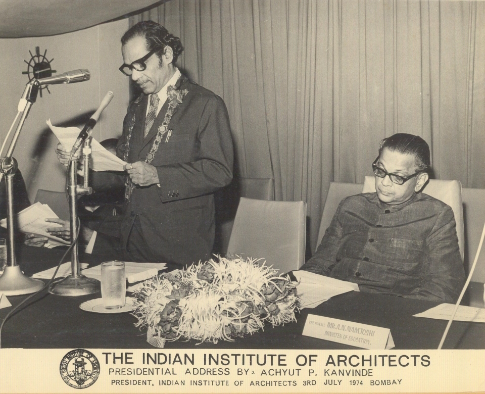 Presidential Address by Achyut P. Kanvinde, president, Indian Institute of Architects, 3rd July, 1974; Bombay