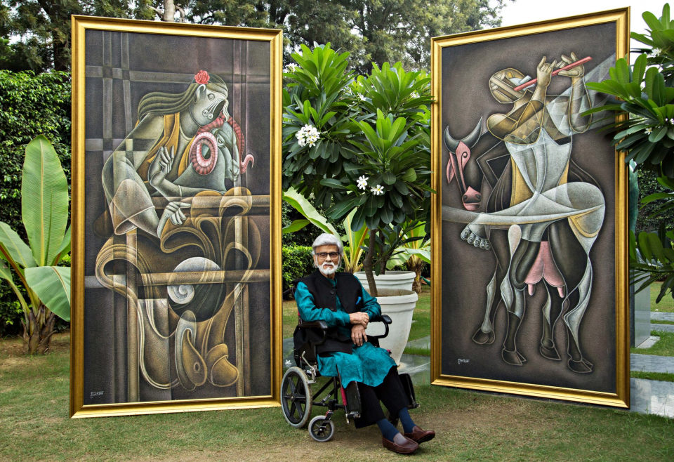 The artist Satish Gujral, seen here in 2017, said his experience with a cochlear implant colored his work.