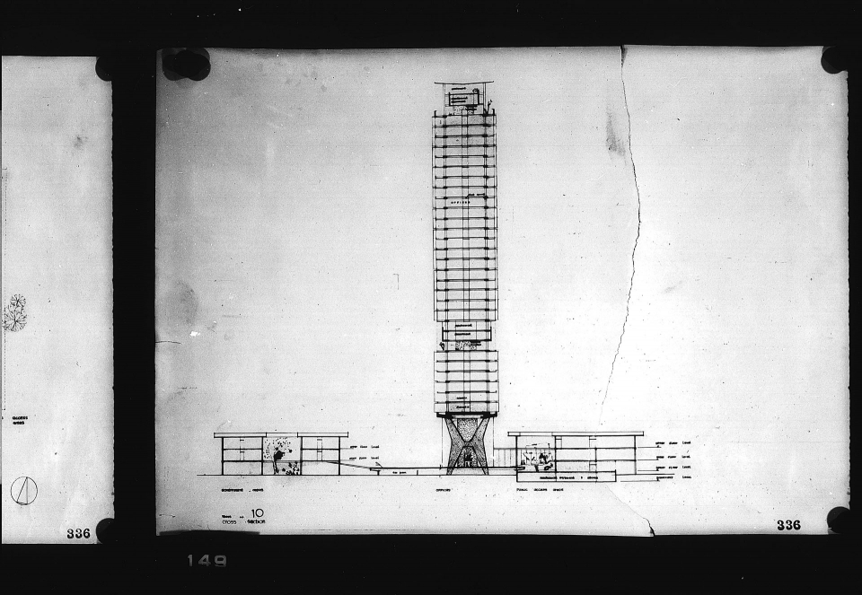 Architectural drawing, Competition entry 336, City Hall and Square Competition, Toronto, 1958, by Achyut Kanvinde of India. Section showing office tower, including library and offices, and low rise government and public access areas.