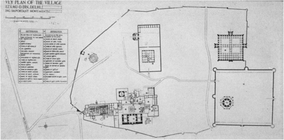 Fig. 11. Nizamuddin site plan (After Zafar Hasan, A Guide to Nizamuddin, Memoirs of the Archaeological Survey of India, no. 10 [Calcutta, 1922], p. 1)