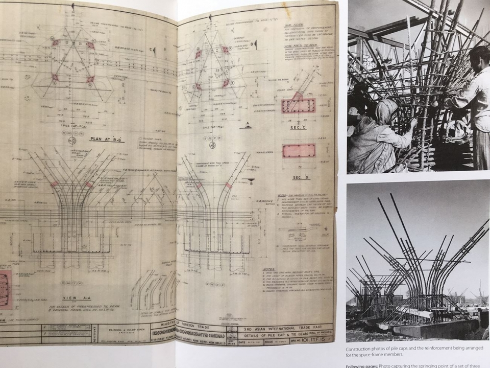 """Hall of Nation construction drawging from """"The Structure: Works of Mahendra Raj"""" edited by Vandini Mehta, Rohit Raj Mehndiratta and Ariel Huber"""