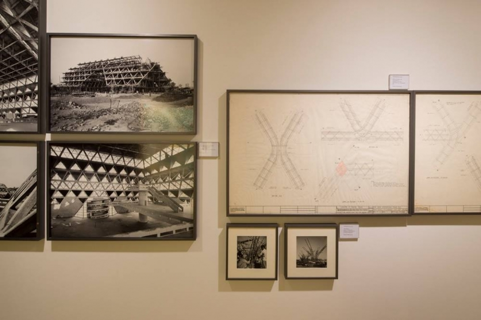 Photographs and original engineering drawings by Mahendra Raj for the Hall of Nations on display at New Delhi, February 2017