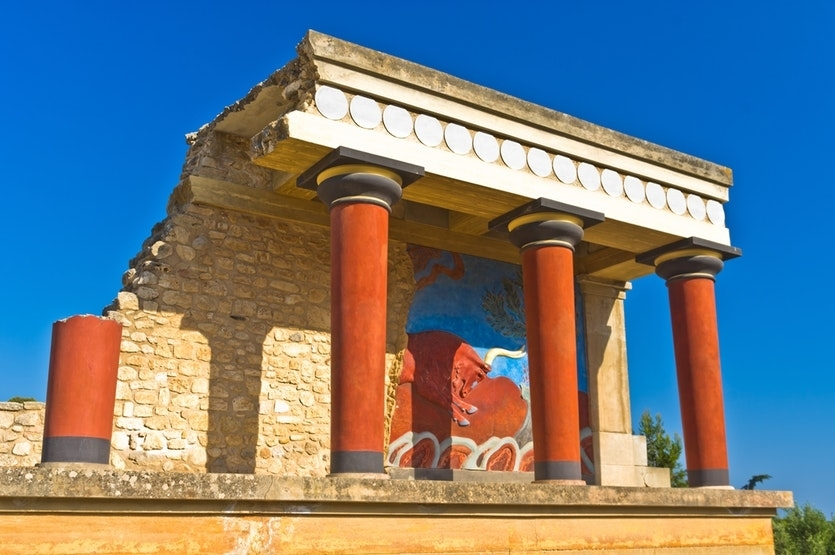 The ruins of the Palace of Knossos in Crete, mistakenly believed to be the site of the Labyrinth.