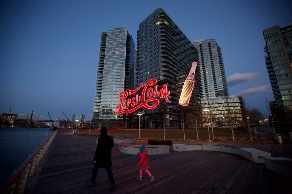 The Pepsi sign in Gantry Plaza State Park, overlooking the East River in Long Island City, Queens.