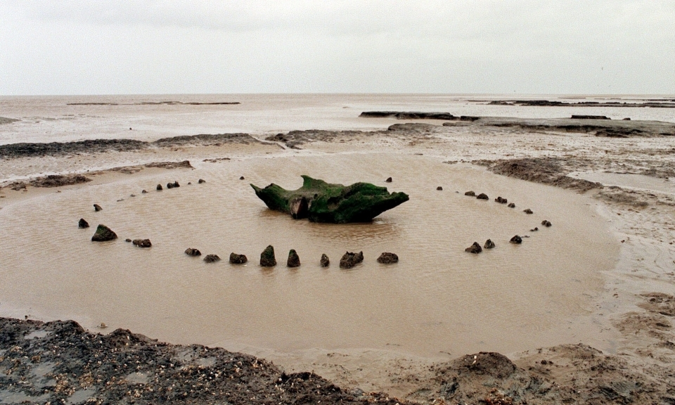 A Bronze Age structure, which became known as Seahenge, a 4,000-year-old timber circle found in Norfolk.