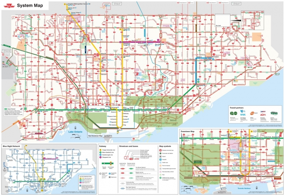 "TTC map with proposed ""shared ride zones"" added in green."