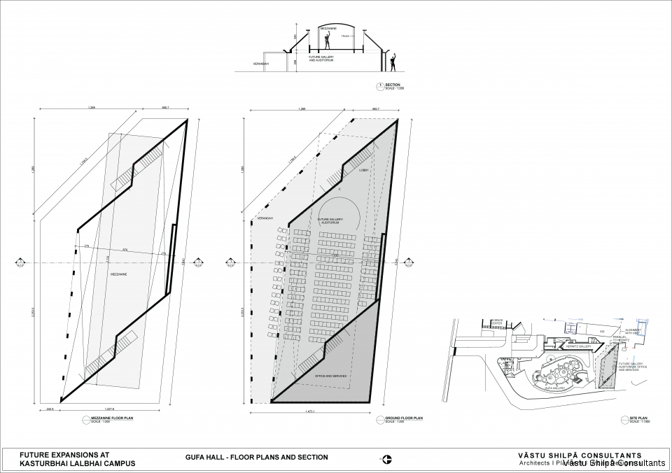 GUFA HALL - FLOOR PLANS AND SECTION