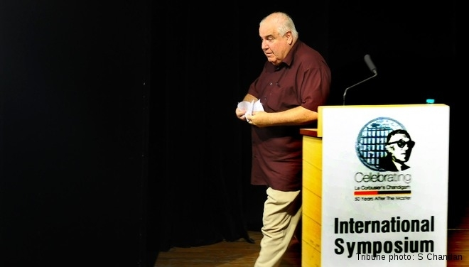 Historian William JR Curtis leaves the panel discussion midway during an international symposium at the Tagore Theatre in Sector 18, Chandigarh, on Monday