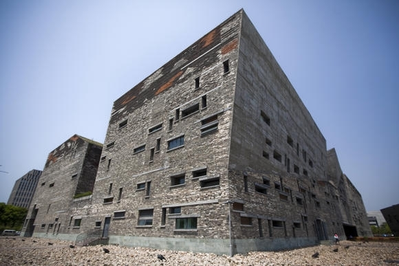 The Ningbo Museum, one of Wang's most famous works, in China's Zhejiang Province