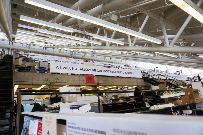 GSD students hung banners denouncing sexual misconduct in the school's main workplace in response to the 'Shitty Architecture Men' list