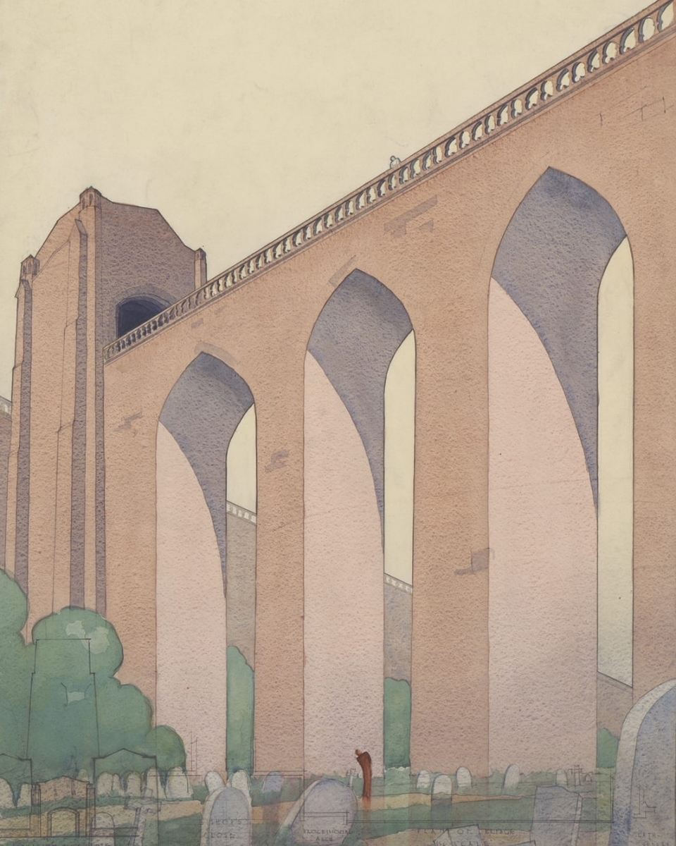 Design for a bridge over St James' Cemetery by Stirrat Johnson-Marshall, 1931-2.