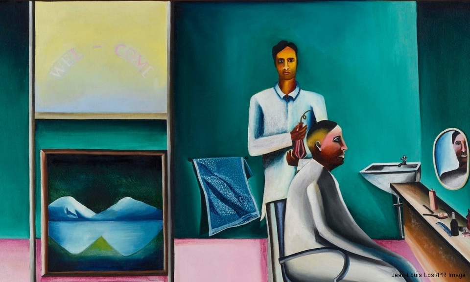 A detail from Bhupen Khakhar's Barber's Shop (1973)