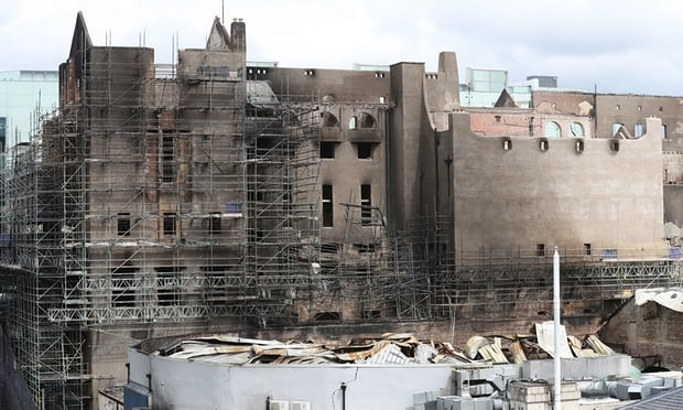 An exterior view of damage to the Glasgow School of Art building.