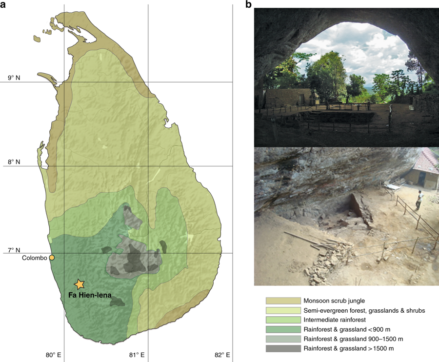 Fig. 1: Location of Fa-Hien Lena. (a) Map of Sri Lanka showing the location of Fa-Hien Lena and the country's vegetation zones. (b) Excavation in Fa-Hien Lena