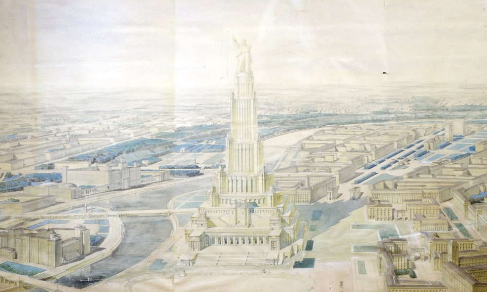 Design for Moscow's Palace of the Soviets topped by a statue of Lenin.