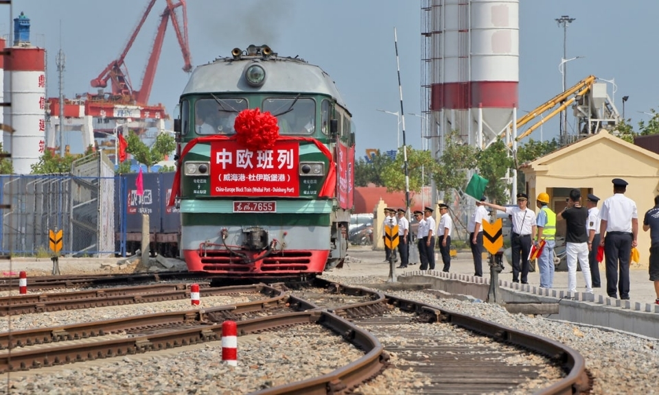 A freight train leaves for Duisburg from Weihai port in Rongcheng, China.