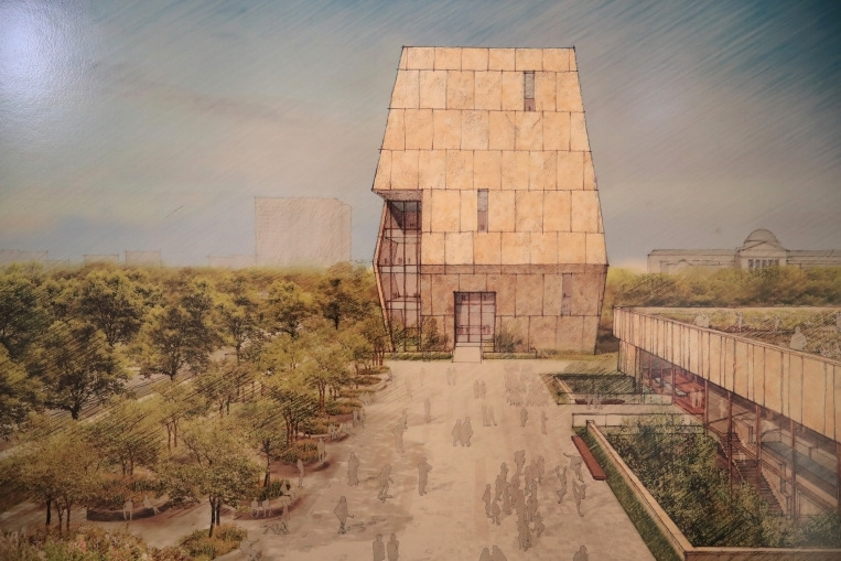 A rendering of the proposed Obama Presidential Center, scheduled to be built in nearby Jackson Park.